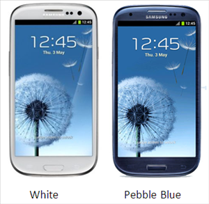 Samsung Galaxy S3 colors white-blue