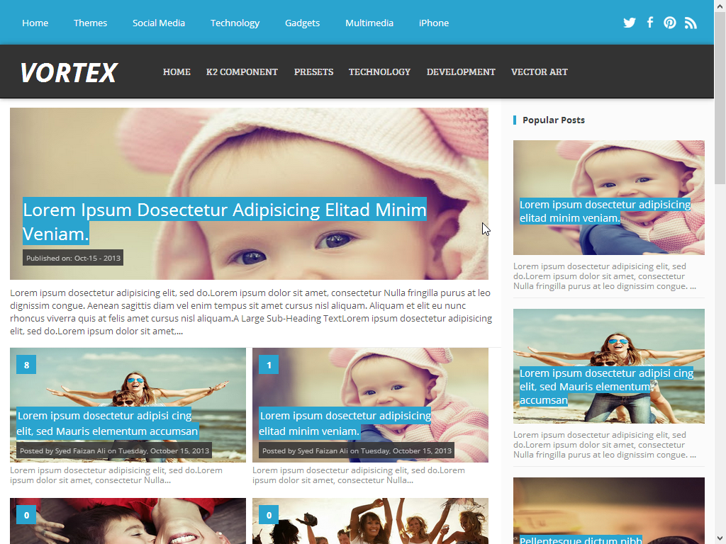 Vortex Download Free Responsive Blogger Template
