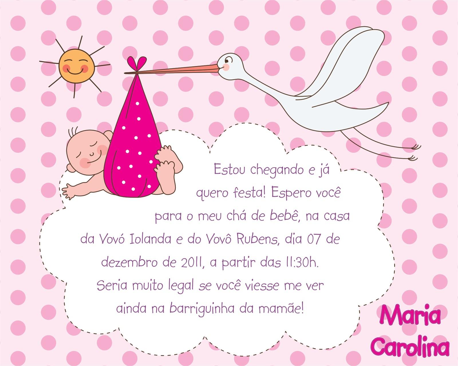 Convite Chá de Bebê Menina 15x12cm (enroladinho com laço cor-de