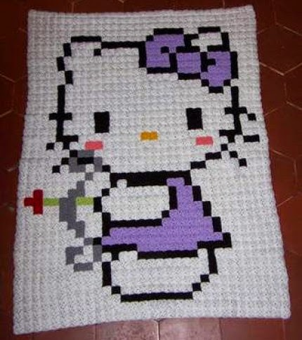 Pixel Hello Kitty Blanket - Free Pattern