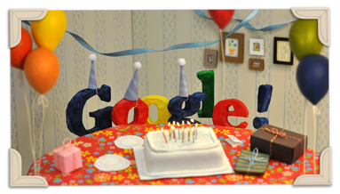 Google Doodle Celebrating 13th Birthday of Google, Google Doodle: Happy 13th Birthday Google 