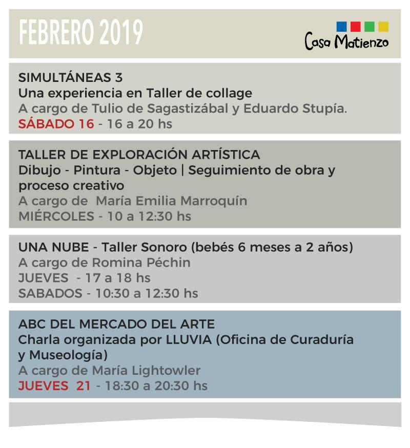 COMENZAMOS EL 2019! Agenda de talleres para Febrero