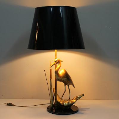 lámpara de sobremesa años 70 con garza