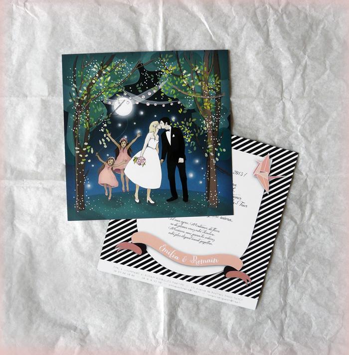 lidia kostanek faire part de mariage personnalis emilia et romain. Black Bedroom Furniture Sets. Home Design Ideas