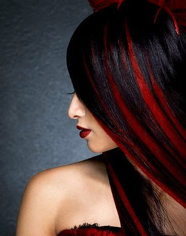 Red Peek A Boo Highlights, or black hair with red peek a boo.