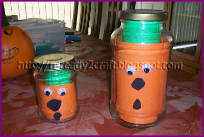craft paper used in a glass jar for pumpkins