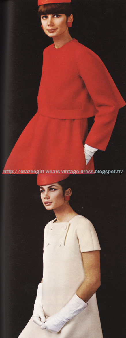 Red high rise skirt and back-butonned jacket - Jean Patou  A-line dress - Jean Patou  1967 60s 1960