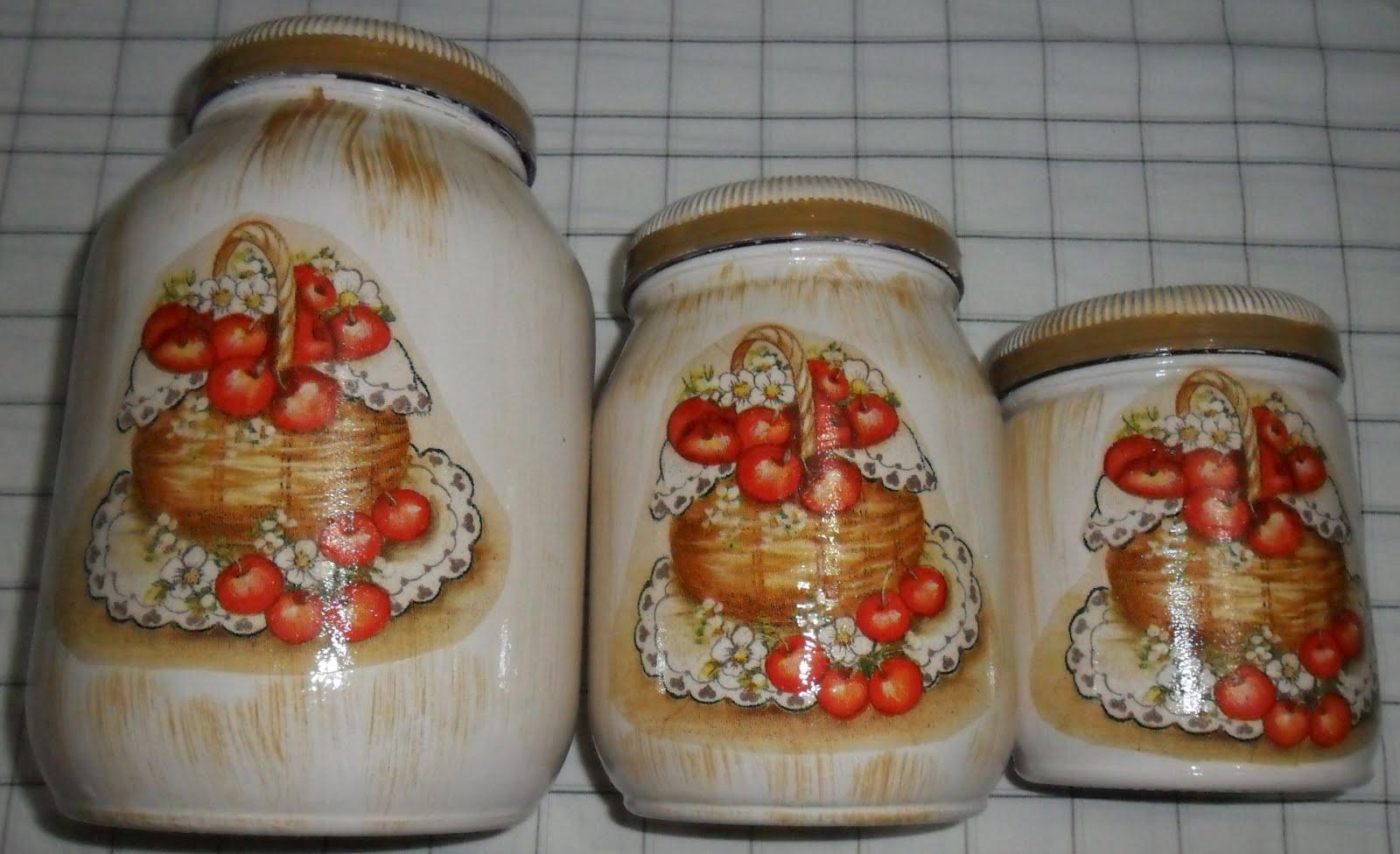 faço com muito amor!!!: Trio de potes de vidro decorado com decoupage #AC351F 1600x976