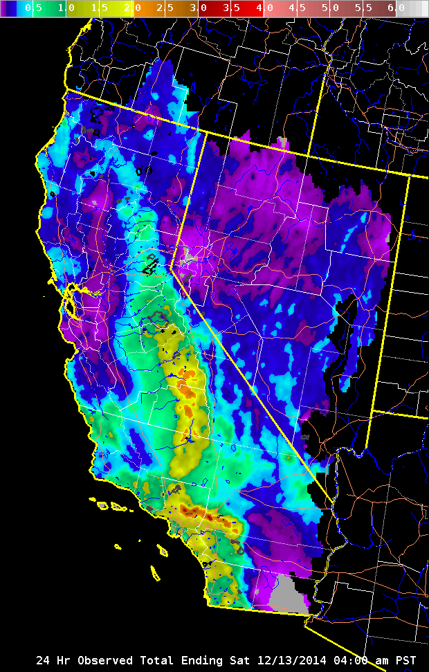 24 Hour Rain Totals For California On 12-13-2014