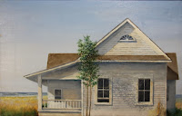 Shore House #7 --Work In Progress by Carroll Jones III oil original old white house by seashore, small trees and marsh
