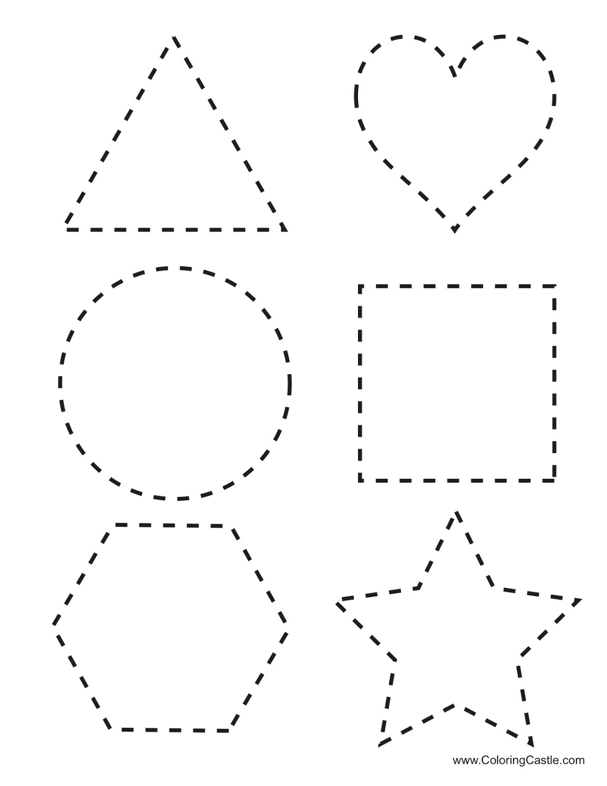 free coloring pages of shapes tracing With shape tracing templates
