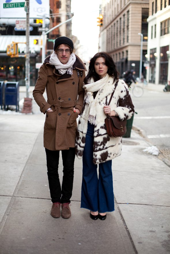 couple style, 70's fashion, cowhide fur coat, double brested over coats, new york fashion, new york fashion from the 1970s, flare jeans, prince street soho, new york street style, new york fashion week, feburary 2013