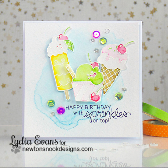 Watercolor Ice Cream Card by Lydia Evans | Summer Scoops Ice Cream Stamp set by Newton's Nook Designs