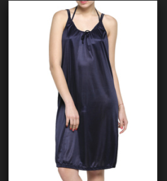 Buy Solid Navy Satin Nightwear with Bikini for Rs.299 at Limeroad: Buytoearn