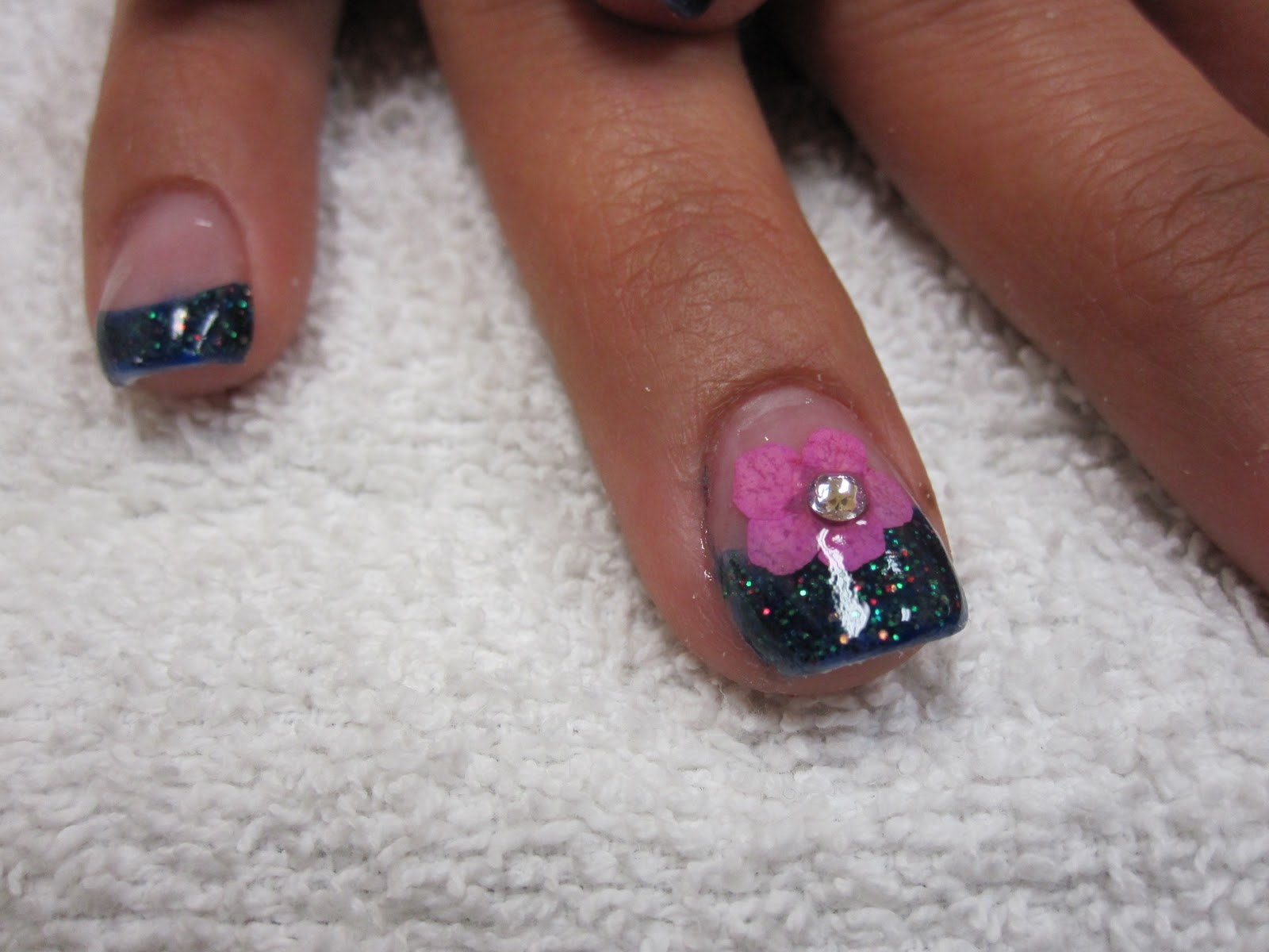 Nail Art Las Vegas: Embedded Flower Nails