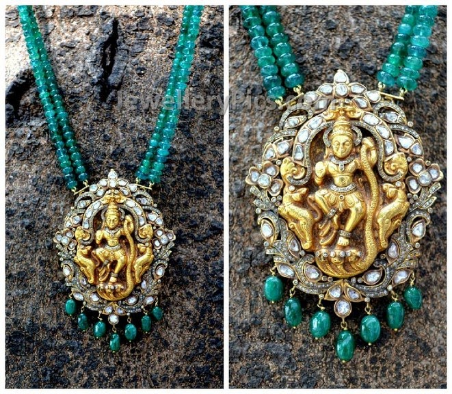 lord krishna temple pendent emeralds chain