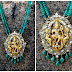 Nakshi work temple pendent with emerald beads chain