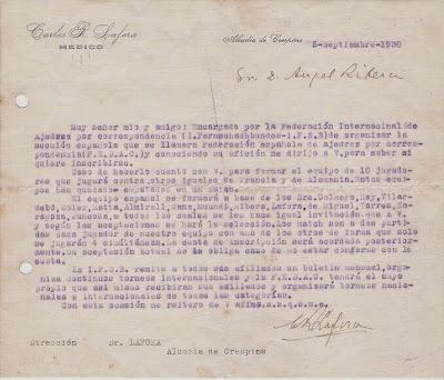 Carta del Dr.  Carlos R. Lafora a Ribera