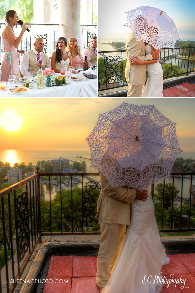 Veranda at the Whitcomb rooftop wedding photos sunset lace bridal umbrella saint joseph michigan