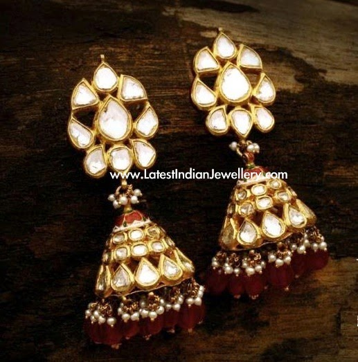 Jadau Design Polki Diamond Jhumkas