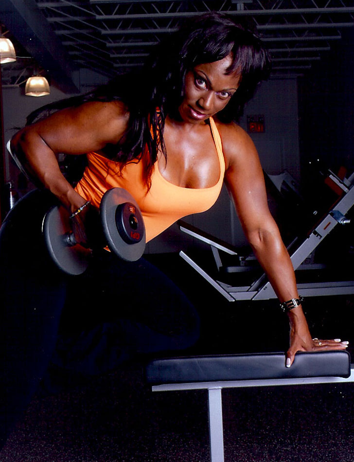 Tracy Hess Working Out Her Back And Muscular Arms
