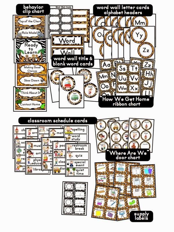 Classroom Ideas Printables ~ Clutter free classroom jungle safari themed classrooms