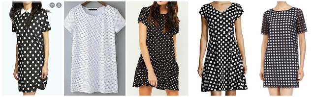 Boohoo Lola Polka Dot Shift Dress $14.00 (regular $26.00)  Romwe Short Sleeev Polka Dot Shirt Dress $15.00 (regular $28.13)  Motel Parma Drop Waist Polka Dot Dress $29.56 (regular $45.12) alternate link, similar in white  Chetta B Polka Dot Fit and Flare Dress $49.50 (regular $99.00)  Catherine Malandrino Casey Polka Dot Short Sleeve Dress $76.30 (regular $109.00)