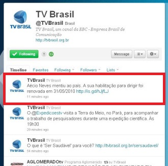 Twitter da TV Brasil usado contra Aécio Neves