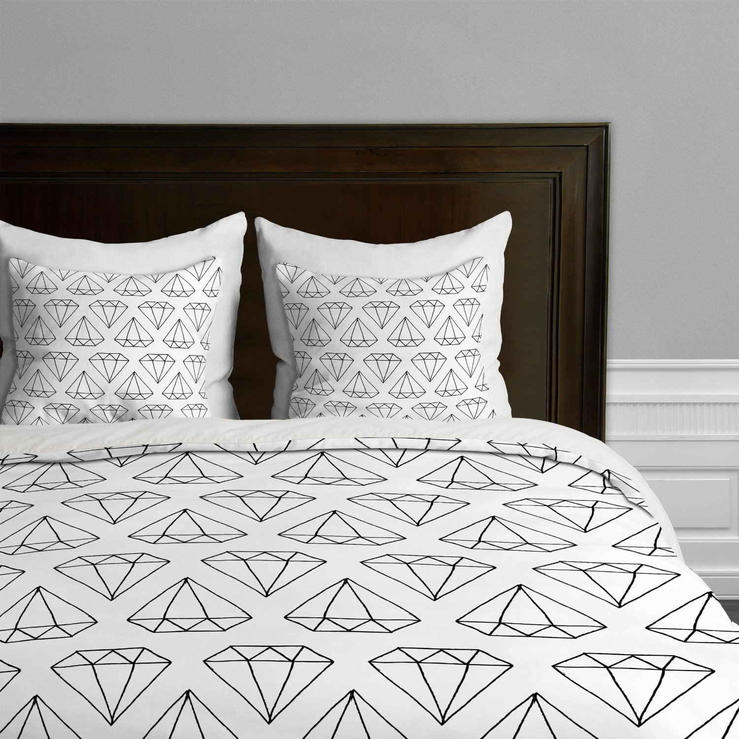 total fab modern black and white geometric themed bedding and  - modern geometric diamond black on white bedding