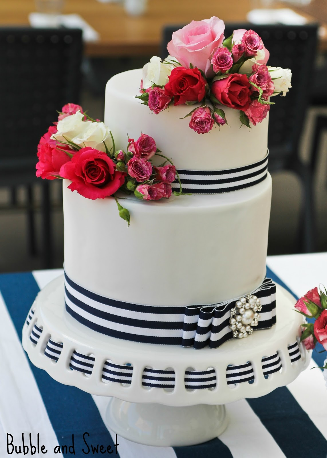 Bubble And Sweet Navy Stripe And Pink Rose Cake And A Delightful