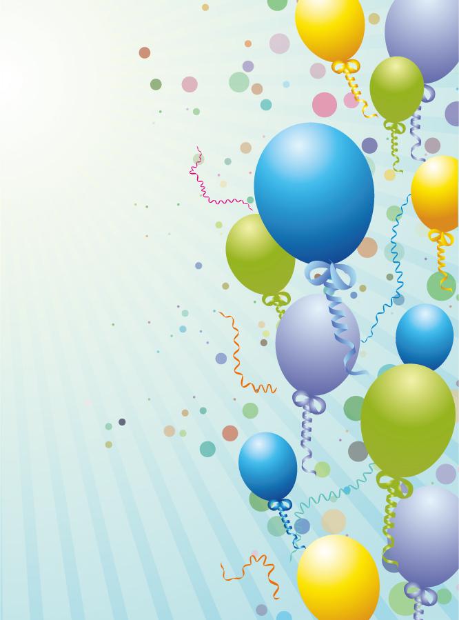 リボン飾りの風船を飛ばした背景 Balloons design background イラスト素材
