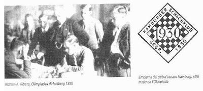 Partida de ajedrez Richter – Ribera, Hamburgo 1930, y emblema del club ajedrez Hamburgo