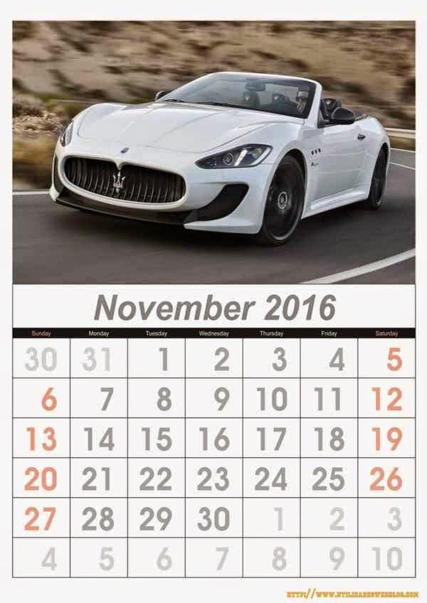 calendario de carros mes de noviembre año 2016 listos para imprimir