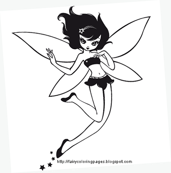 Tinkerbell Fairy Colouring Pages