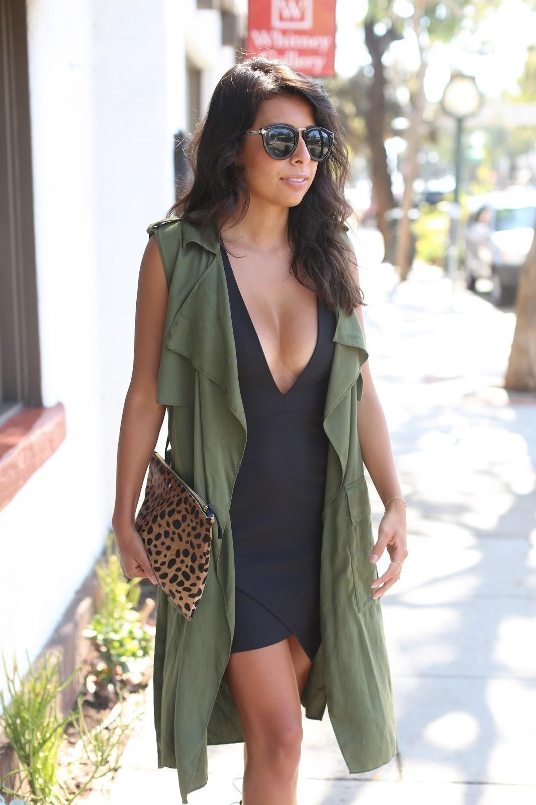 NBD dress, claire vivier leopard clutch, how to wear little black dress