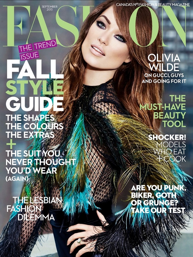 Olivia Wilde wears Gucci on the cover of Flare Magazine Canada, September 2013