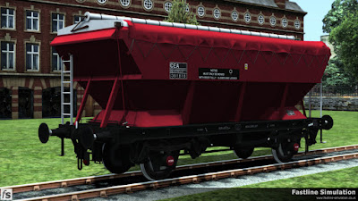 Fastline Simulation: A clean CEA hopper in unbranded EWS maroon livery from the side with sheet rubbers and cleats.