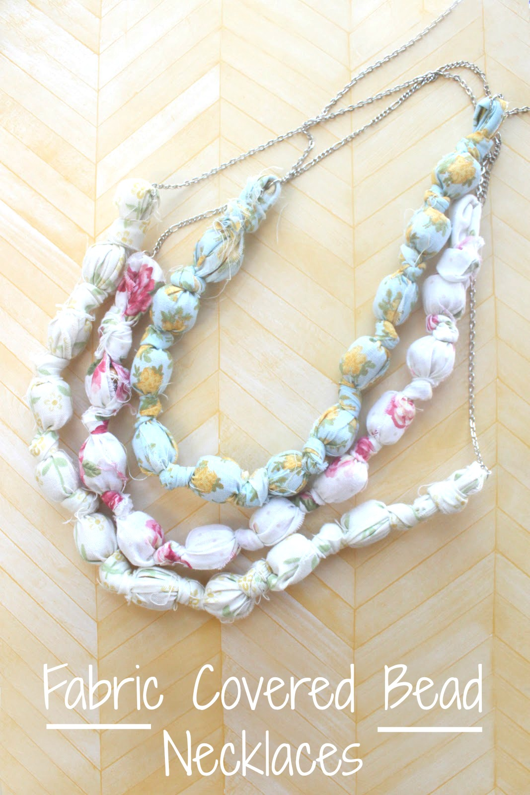 Eat sleep make craft fabric covered bead necklaces for Fabric crafts to make