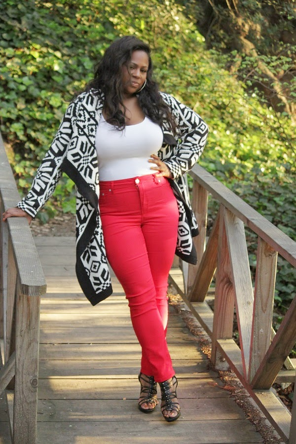 Black and White Aztec Print Open Front Cardigan Red Skinny Jeans