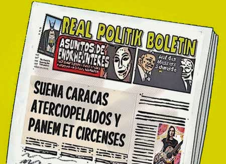 Front page tipo cómic - grupo Aterciopelados en Venezuela