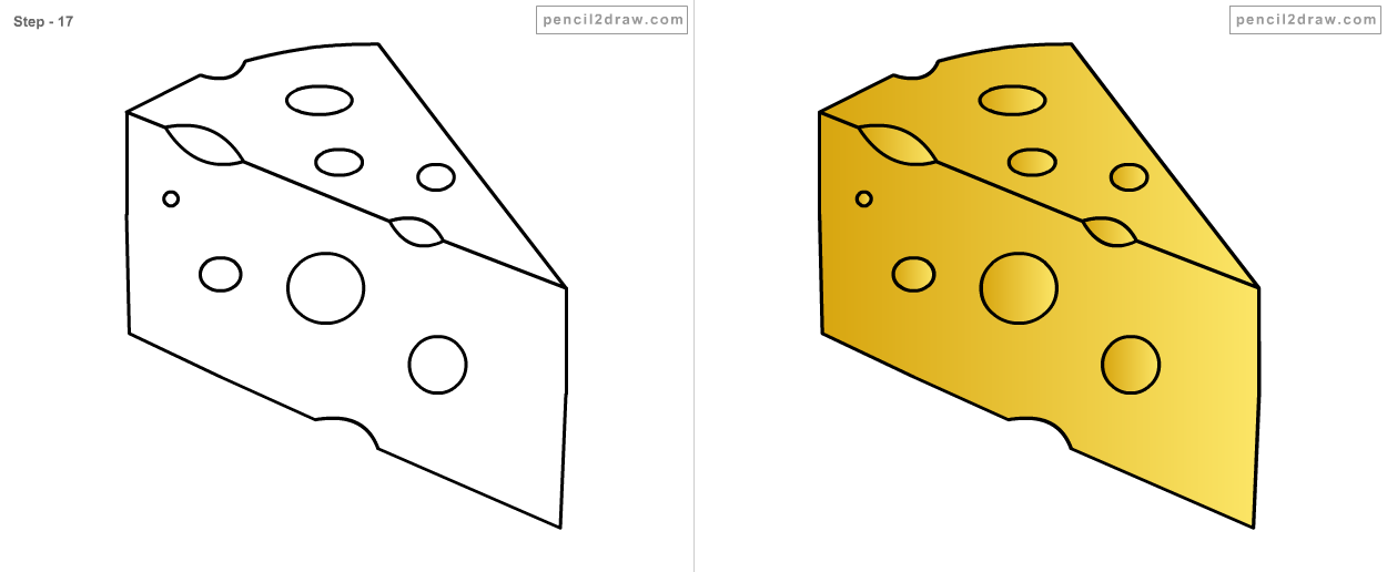 Drawing of cheese the image kid has it for How to draw cheese step by step
