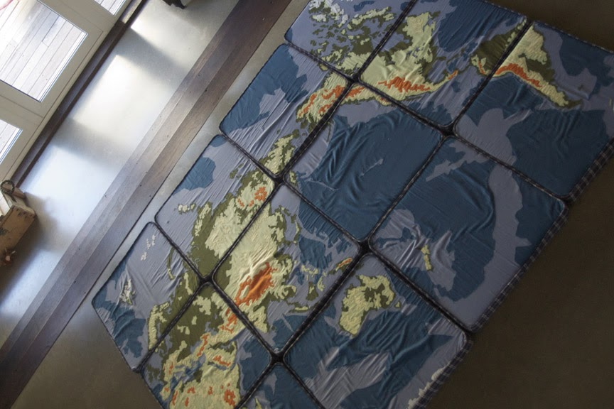 Mad For Mid Century World Map Cushions For A Travel Nursery