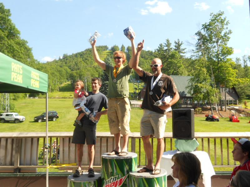 Bryan and Jeff (and Katie) on the podium at Pat's Peak (photo Scott Snyder)