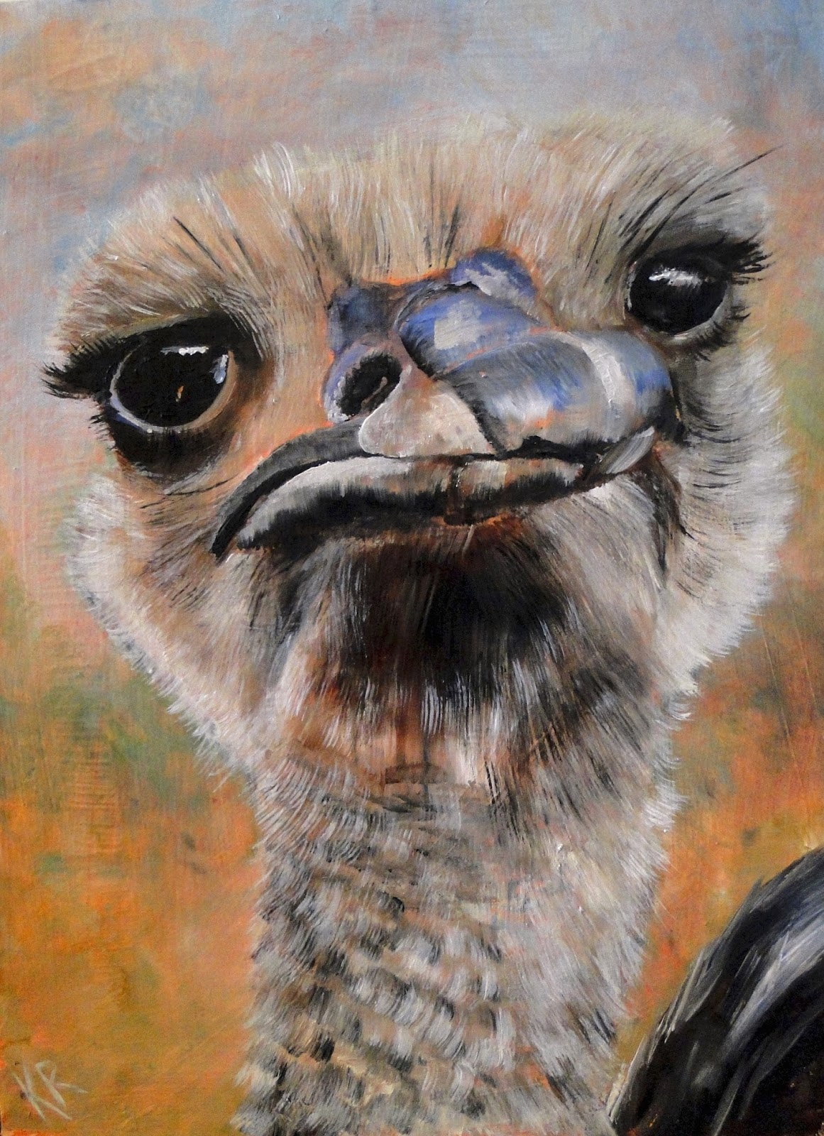 oil painting, ostrich, beak, feathers, how to paint beak and feathers