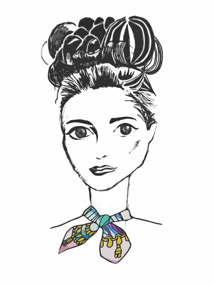 fashion illustration, hermes scarf, silk scarf, beehive hair, french chic