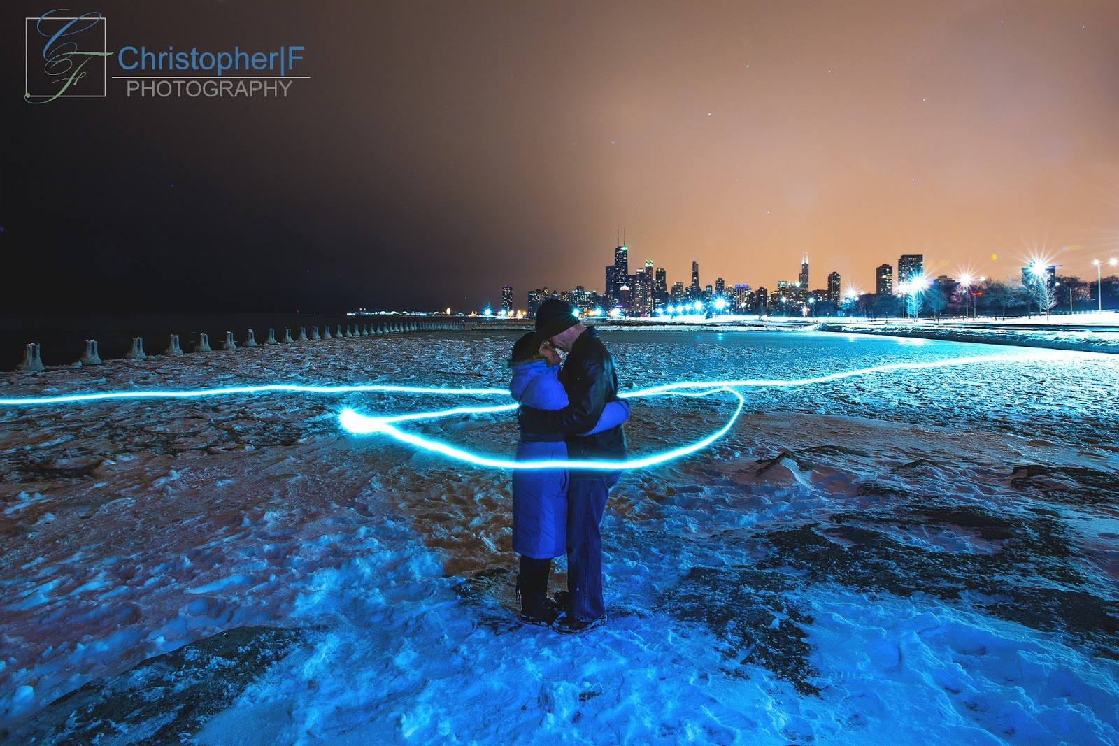 Snowy Winter Chicago Engagement Session Light Painting