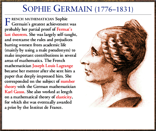 sophie germain a french mathematician I recently read simon singh's fantastic book fermat's last theorem simon is a pro at delivering an absorbing history filled with colorful characters, and in this book one that stood out was sophie germain, a french mathematician.