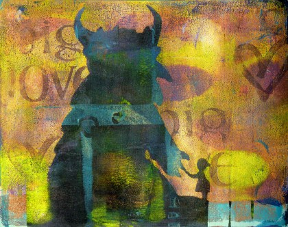 "Whoopidooings - (Carmen Wing) Acrylic Gelli Print - Monster & Friend ""Big Love"""