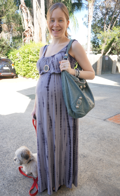 Jeanswest grey tie dye maxi dress non maternity option for third trimester