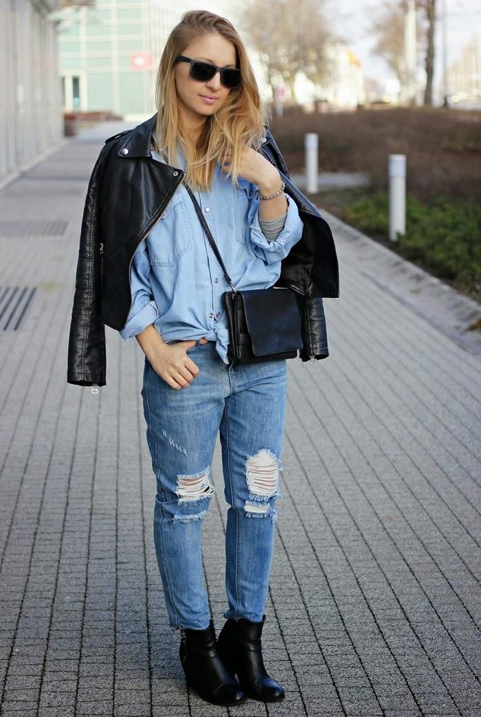 Stylizacja z jeansową koszulą z second handu